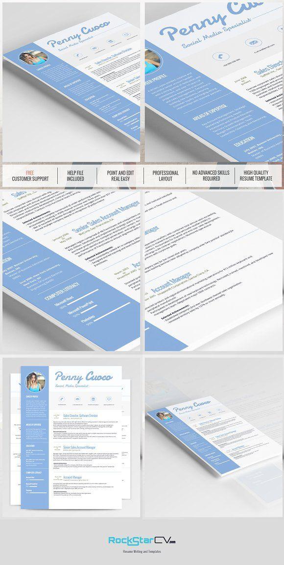 Resume Template - Cassiopeia by RockStar Design on @creativemarket