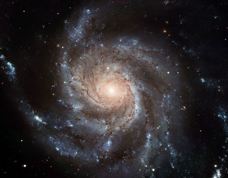 The Pinwheel galaxy is located 23 million light-years away, and is one of the few spiral galaxies oriented face-on to our own. This image is the most detailed ever taken of a face-on spiral galaxy.