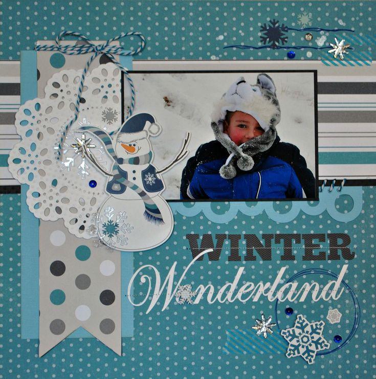 Winter Wonderland~Echo Park - Scrapbook layout #scrapbooklayouts