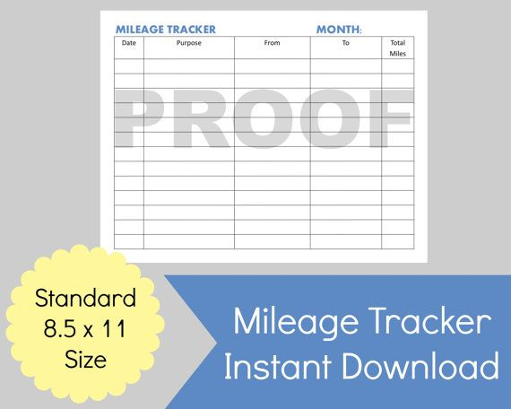 Printable Mileage Expense Form or Mileage Log Template PDF  Size: 8.5 x 11 (Standard Printer Paper Size) Print: Print as many times as you want for