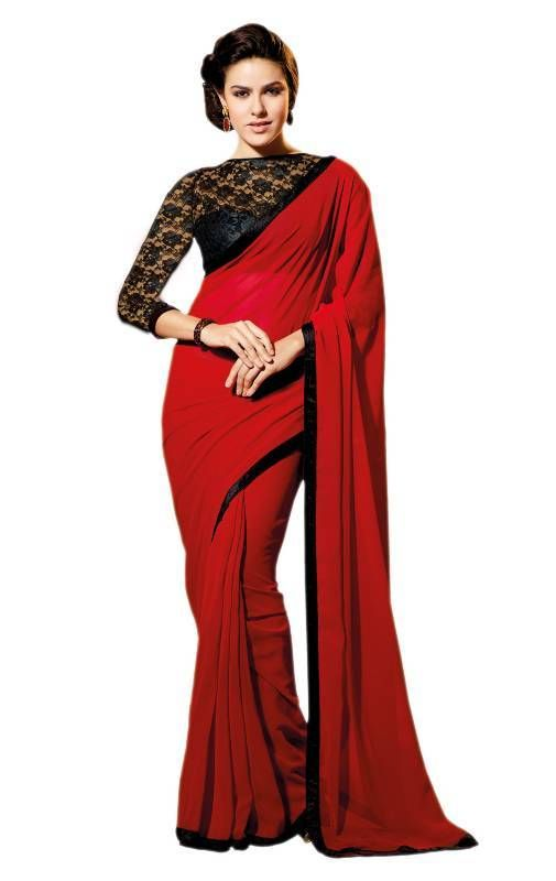 plain saree with contrast blouse