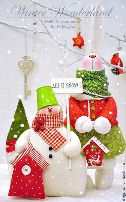 Новый год 2016 ручной работы. Волшебный снеговик. Дзигора Наталья. Ярмарка Мастеров. Игрушка снеговик, Снег, красный с белым, бусины