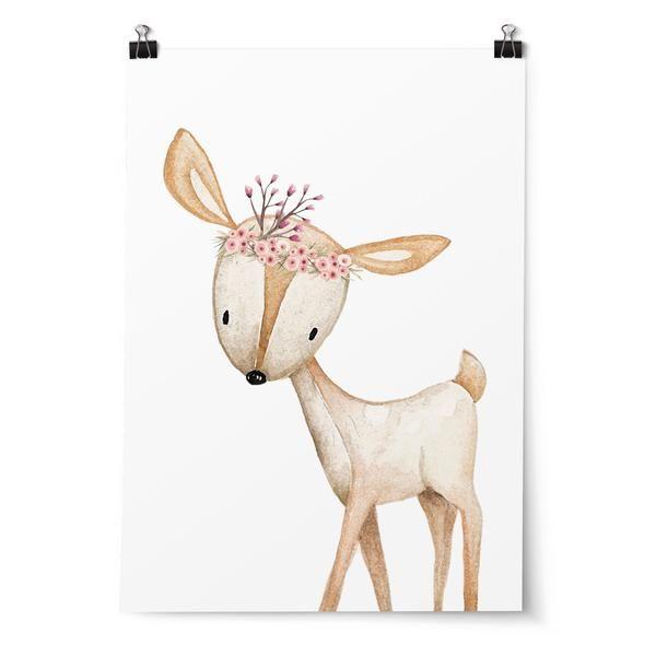 Girls Floral Woodland Deer Print. Nursery or Bedroom Wall Art Decor Prints. Woodland Nursery Decor. Deer Prints. Monochrome Prints. Girls Bedroom Decor.