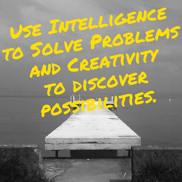 Use intelligence to solve problems and creativity to discover possibilities.