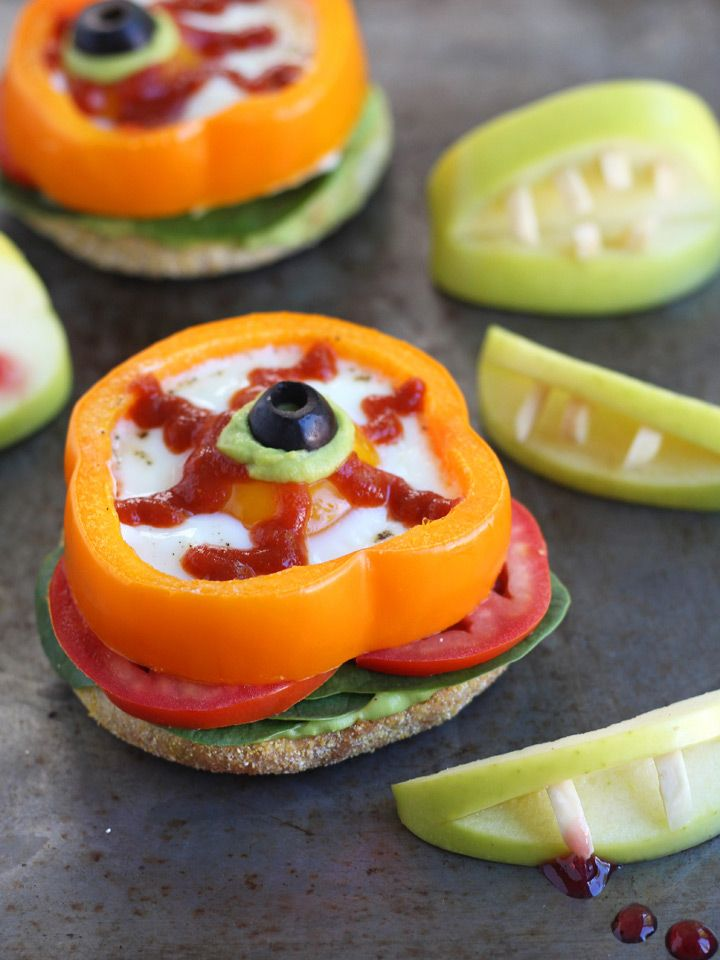 """Halloween Bell Pepper Baked Eggs - Perfect for the """"little monsters"""" in your life."""