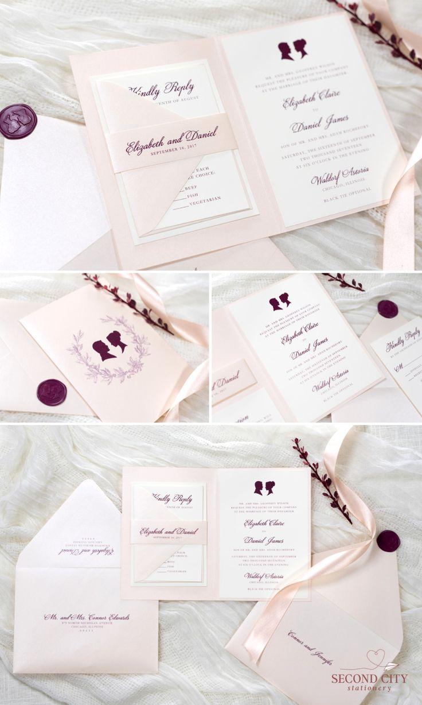 Folding Blush Shimmer and Ivory Wedding Invitation