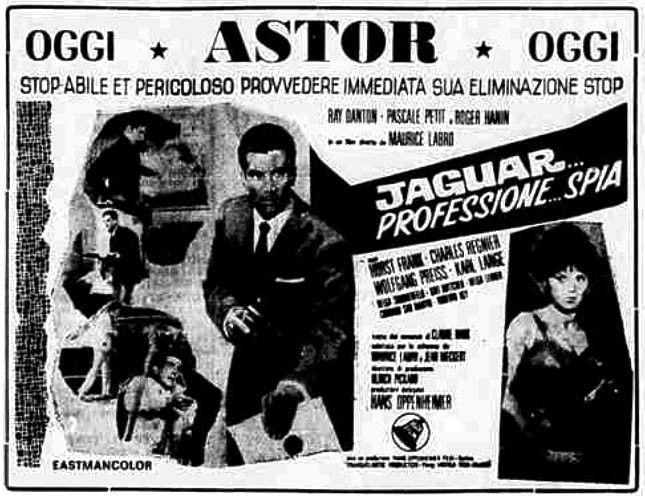 """""""Jaguar... professione spia"""" (Corrida pour un espion, 1965) di Maurice Labro, con Ray Danton e Pascale Petit. Italian release: March 17, 1966 #MoviePosters #SpyStory"""