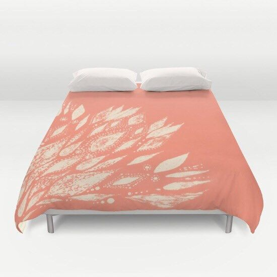 A personal favorite from my Etsy shop https://www.etsy.com/listing/453954252/coral-duvet-cover-pink-bed-cover-coral