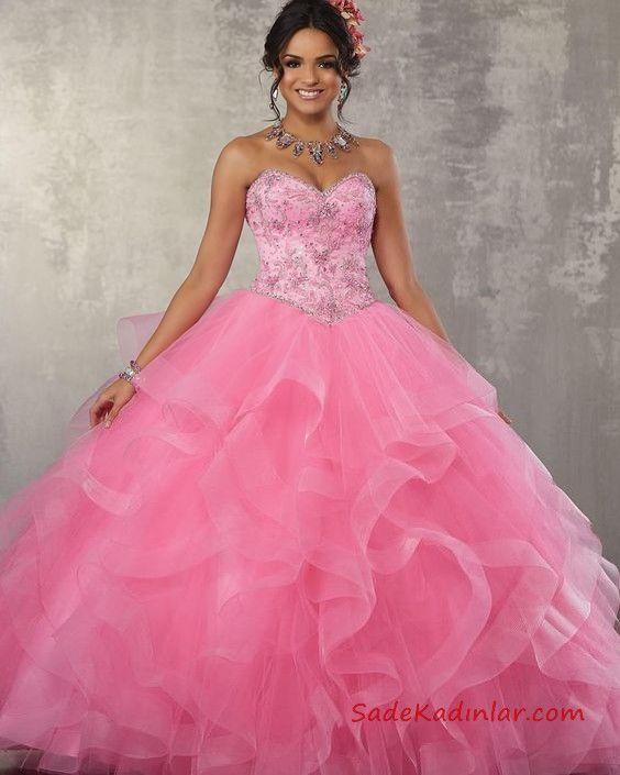 f7dedae169126 Kabarık Nişanlık Modelleri Pembe Uzun Straplez Kalp Yaka Boncuk İşlemeli  Tül Etekli #abiye #dresses #moda #fashion #fashionblogger #eveningdresses  ...