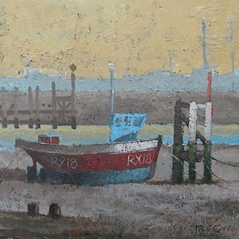 RYE HARBOUR - 44 x 44 cms - framed acrylic on board