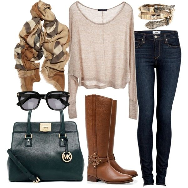 Perfect combination for an awesome fall look #brown #boots #fall #fashion #style #sunglasses #jeans #scarf #bag