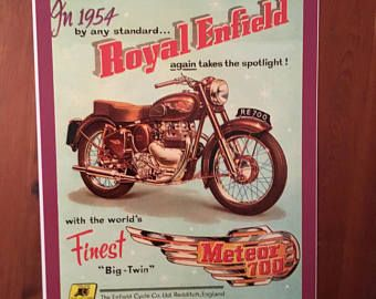 Vintage Royal Enfield motorcycle reproduction poster