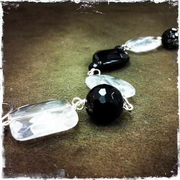 Bracciale con cristallo di rocca e onice, montato su argento