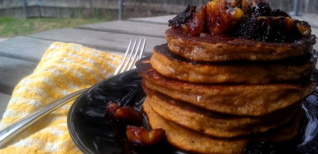 Caramelized Plantain Pancakes with Sweet Cinnamon Plantain Maple Syrup
