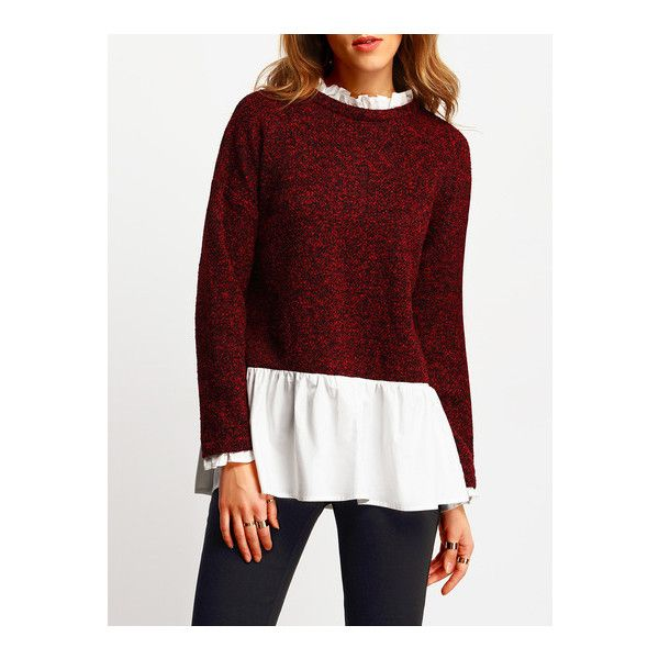 SheIn(sheinside) Burgundy Contarst White Ruffle Hem Blouse (86 SAR) ❤ liked on Polyvore featuring tops, blouses, burgundy, collared blouse, white collared blouse, color block blouse, 3/4 sleeve blouse and white top