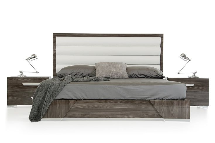 """Nova Domus Capulet Italian Modern Grey Bed. The Nova Domus Capulet Italian Modern Grey Bed features a wide tall ridged headboard upholstered in white eco-leather. It features an interesting grey elm veneer frame with a glossy finish and stands on durable chrome feet. Made in Italy, this modern grey bed requires some assembly. Dimensions  Queen: W65"""" x L83"""" x H51""""  Eastern King: W79"""" x D83"""" x H51"""" Grey Elm Veneer With Glossy Finish  White Eco-Leather Upholstered Headboard  Chrome Accents..."""