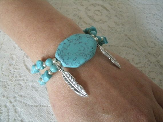 Turquoise Feather Bracelet southwestern jewelry by Sheekydoodle