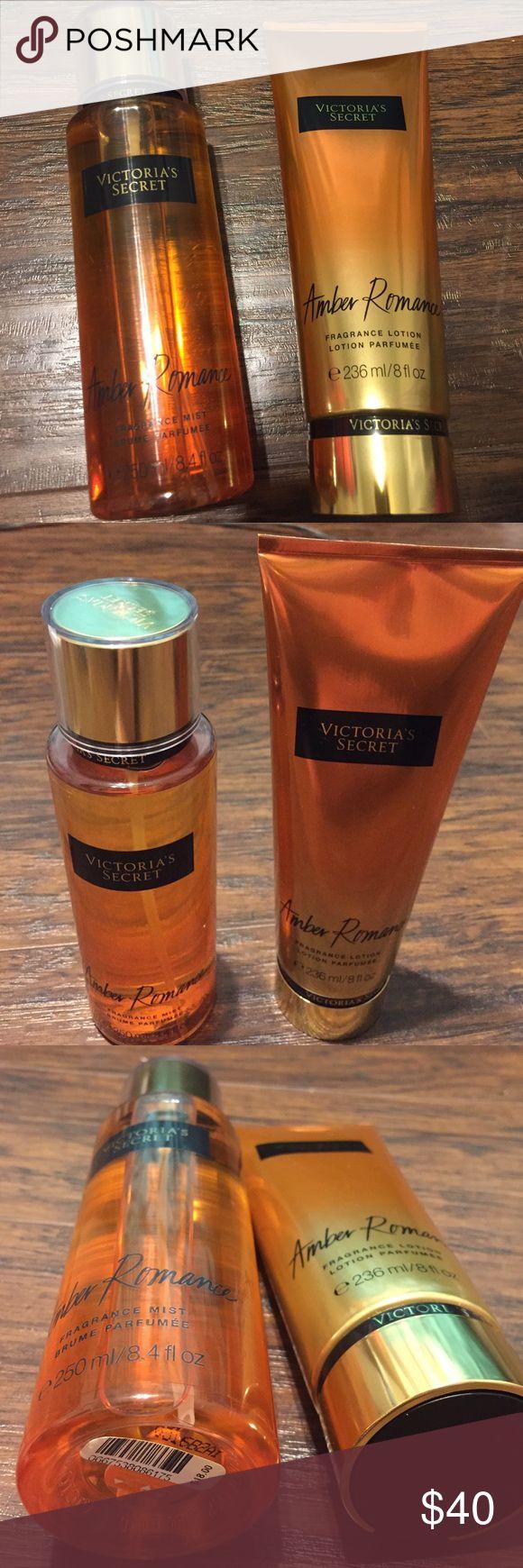 "Victoria Secret body mist & lotion set Victoria's Secret fragrance spray body mist (8.4 fl oz.)& body lotion (8 fl. Oz) set ""Amber Romance"", brand new Victoria's Secret Other"
