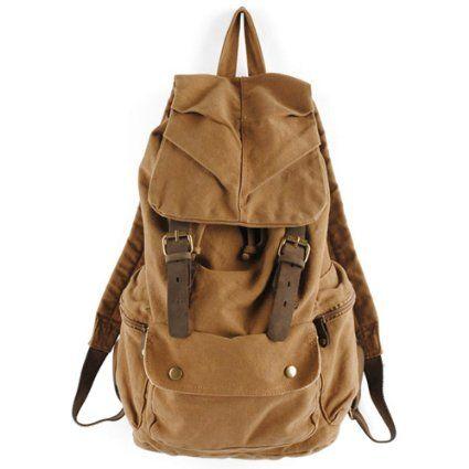 Nuevo Mujer/hombre Lona y Cuero Vintage Senderismo Mochila de a diario Bolsa de Viaje Bolsa o mochila escolar de color Marrón: Amazon.es: Eq...