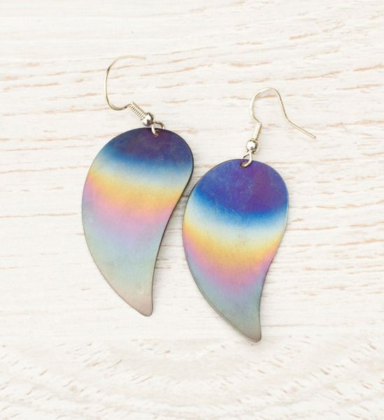 Raibow leaves- long titanium earrings, unique from Arpelc Blue Titanium Jewelry by DaWanda.com