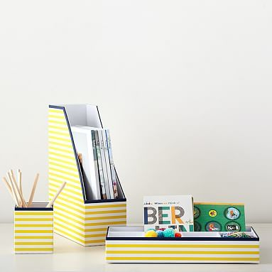 Printed Paper Desk Accessories Set, Yellow Stripe With Navy Trim