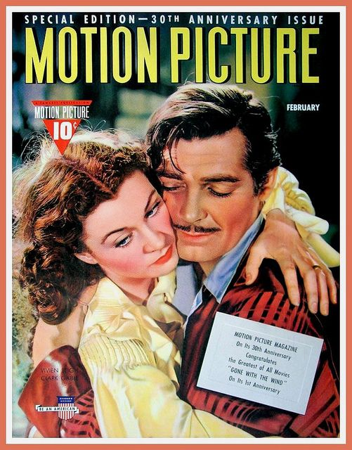 MOTION PICTURE - February 1941 - VIVIEN LEIGH AND CLARK GABLE