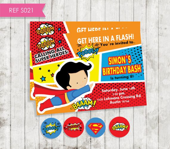 Superhero Invitation Invitación superman Diy por CreativaDesignCo