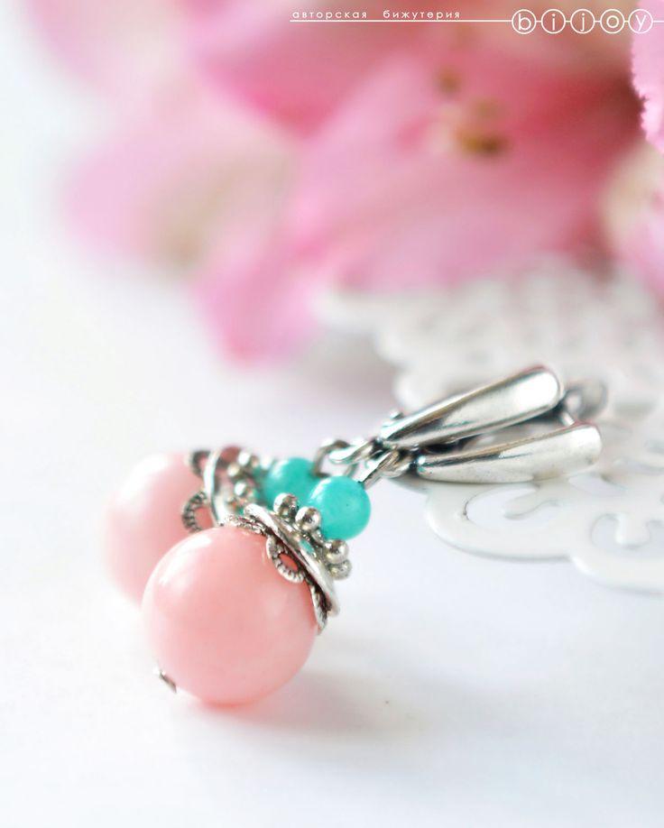 Купить Серьги «Розовые бутоны» - бледно-розовый, розовые серьги, нежно-розовые серьги