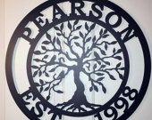 "Established Tree of life, Family Last Name Monogram Sign, Metal monogram door hanger, Custom Family Sign, ,Personalized last name sign,  24"""