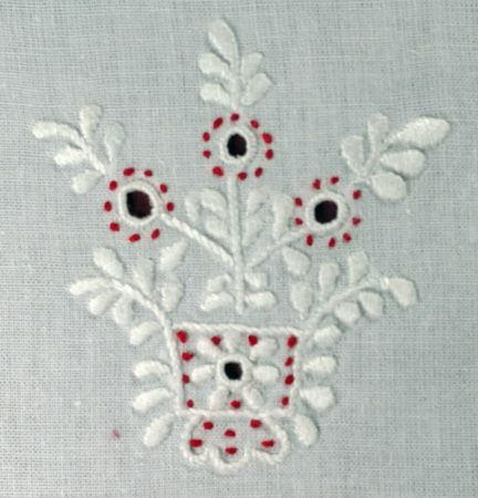 Sarokminta 6. (kis poharas), Galga menti fehér hímzés