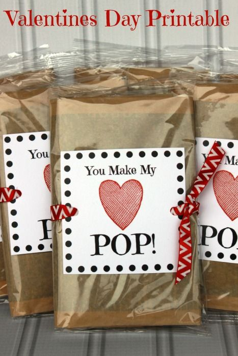 A Day In Candiland | You Make my Heart POP! Valentines Day Printable | An easy way to make some healthier school snacks. Microwave popcorn with a fun printable. http://adayincandiland.com