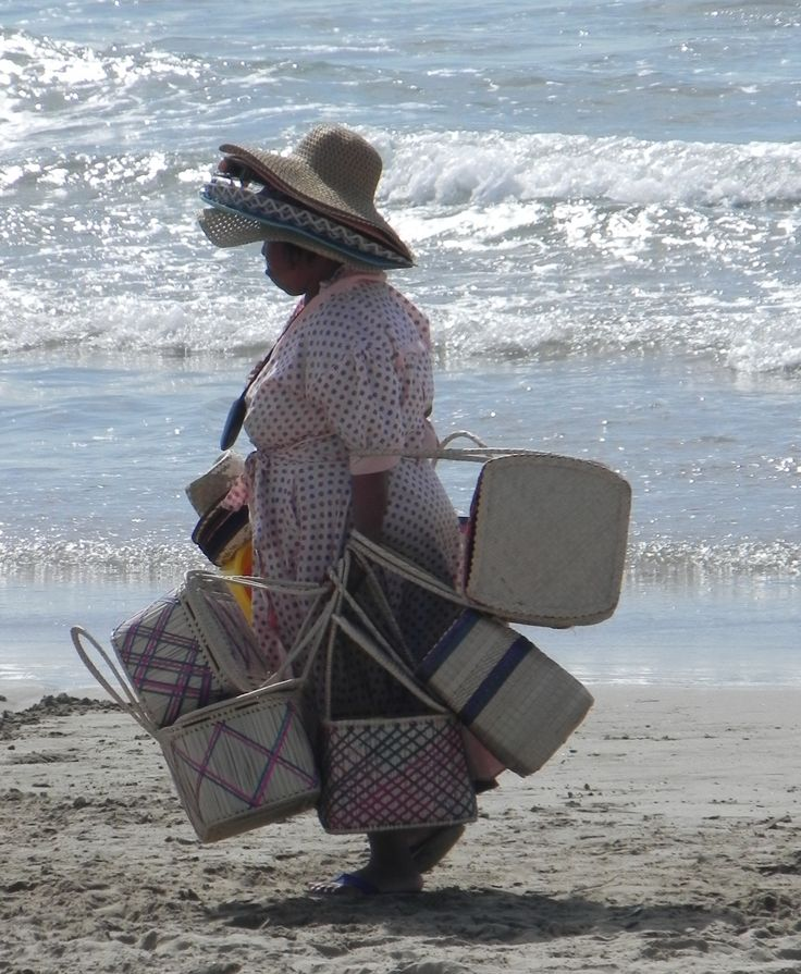 The basket lady on Durban South Beach, South Africa