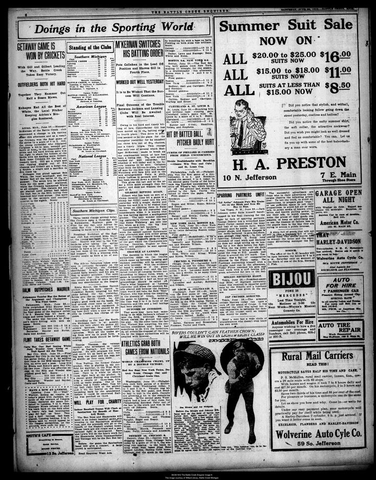 June 1912.  An example of a full page of advertising from a  Battle Creek, Michigan newspaper.    There is an ad for the Wolverine Auto Cycle Co. over on the right side.   Harley Davidson and Excelsior and Flanders 4 Motorcycles.