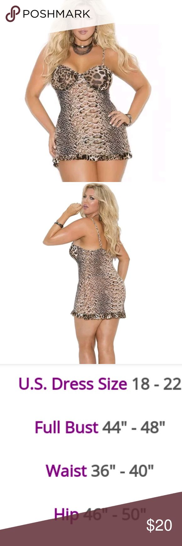Plus size lingerie Best leopard print underwire. Very sexy. Makes a great holiday fift Ricosavannah Intimates & Sleepwear Chemises & Slips