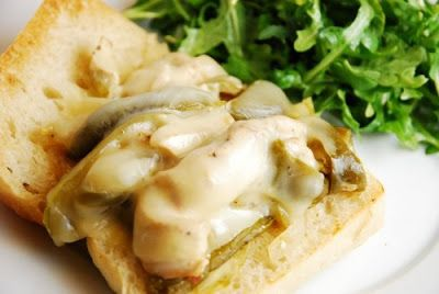Crock Pot Chicken Philly Cheese Steak Sandwich [from LaaLoosh via Slow Cooker from Scratch] #SlowCooker #CrockPot #SlowCookerSummerDinner