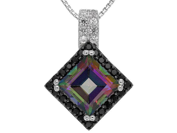 2.75ct Square Mystic(R) Green Topaz, .33ctw Black Spinel, .15ctw White Zircon Silver Pendant W/Chain