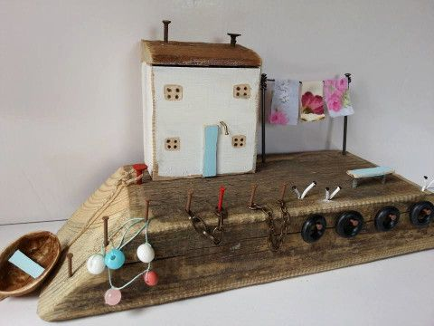 Driftwood Cottage,White Fisherman's Cottage,Reclaimed wood art,Driftwood Houses