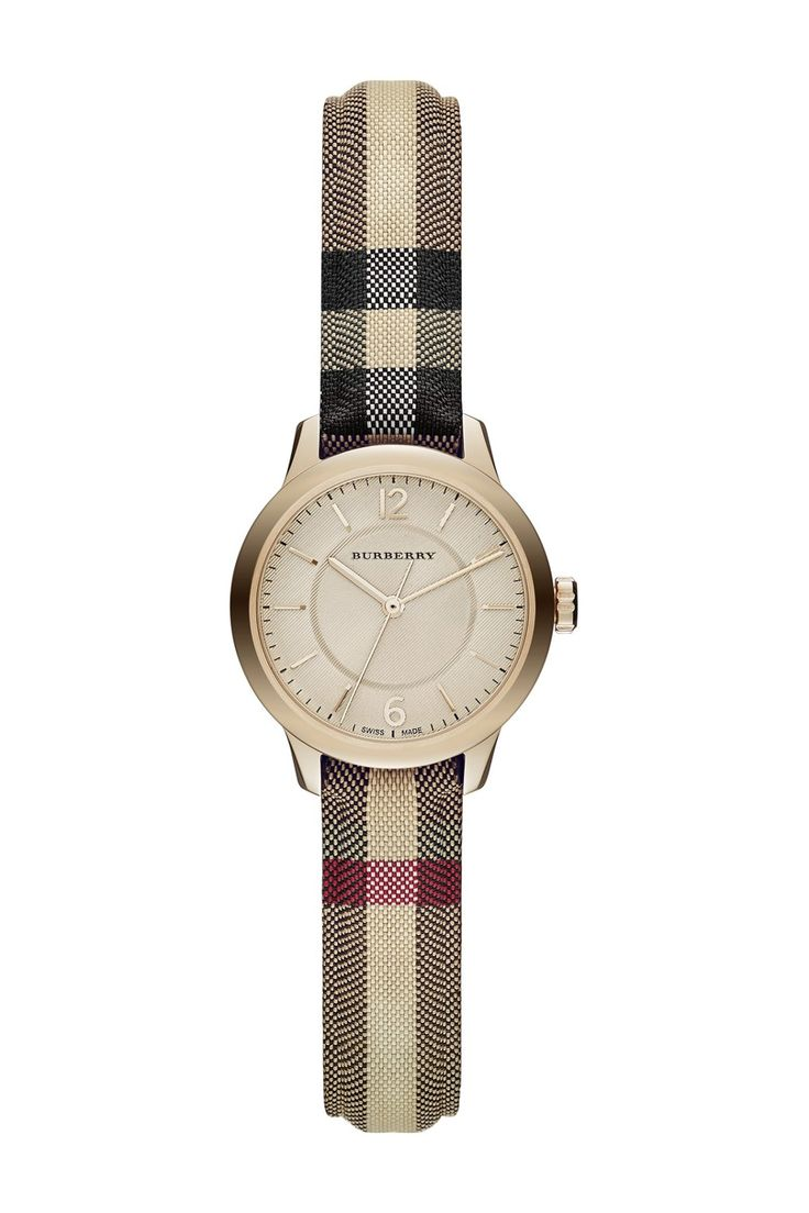 Burberry Women's Classic Round Check Fabric Strap Watch