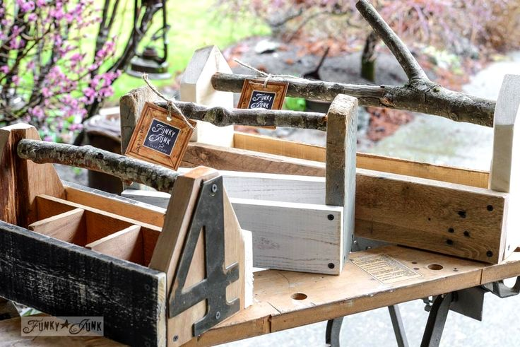 Reclaimed wood toolbox kits with branch handles, created by FunkyJunkInteriors.net