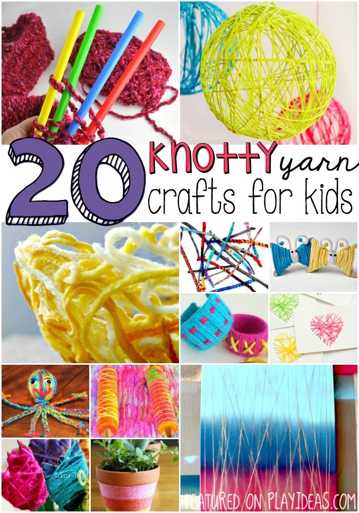 There are so many fun things that can be done with yarn- why not start with one of these 20 knotty yarn crafts for kids?: