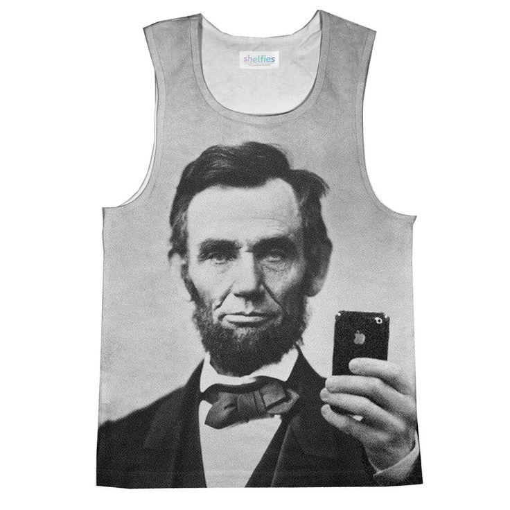 Abraham Lincoln Selfie Tank Top - Shelfies | Have you ever taken a patriotic selfie before?