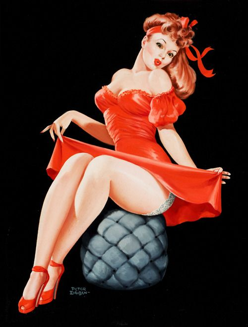 """""""Pin-Up in Red"""" by Peter Driben 1949 art ideas for the 1st Republic of Catalonia. 1strepublicofcatalonia.cat #catalanrevolution"""