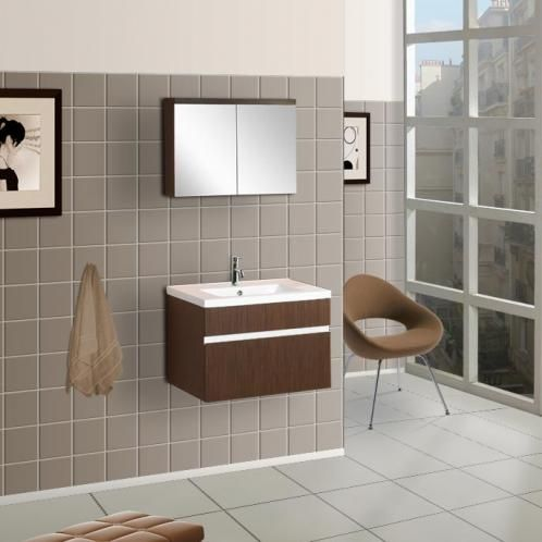 Bath Authority DreamLine Wall Mounted Modern Bathroom Vanity   W/ Porcelain  Counter And Medicine Cabinet   Wenge