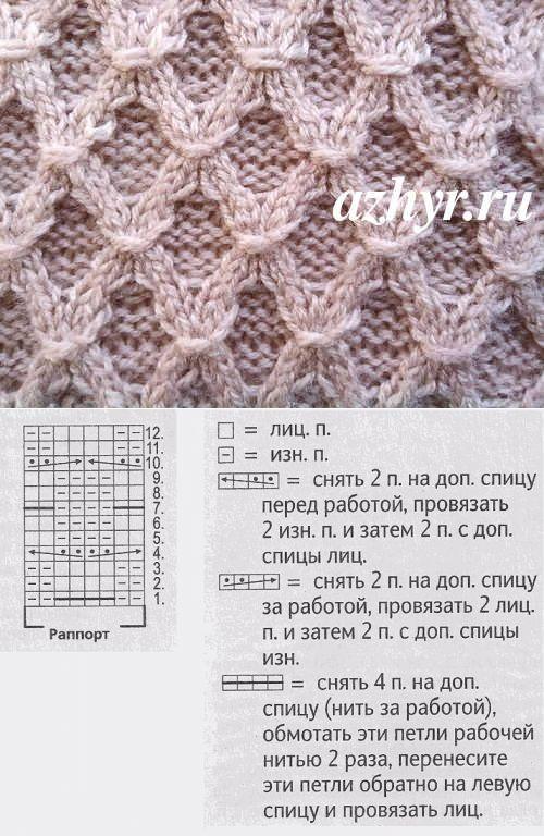 Рельефный узор ромб спицами | АЖУР - схемы узоров