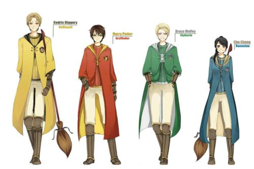 The four seekers One thing I really did like in the movies were the quidditch robes.