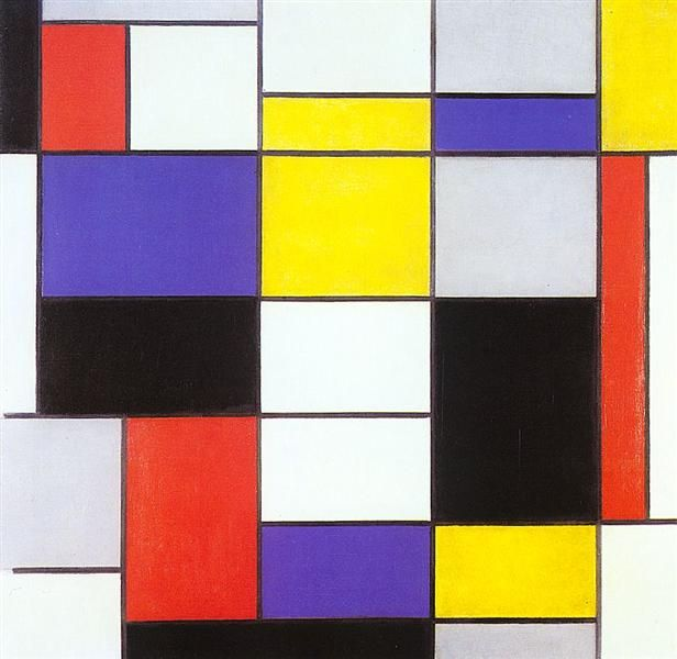 Composition A, 1923 by Piet Mondrian. Neoplasticism. abstract. Galleria Nazionale d'Arte Moderna e Contemporanea (GNAM), Rome, Italy