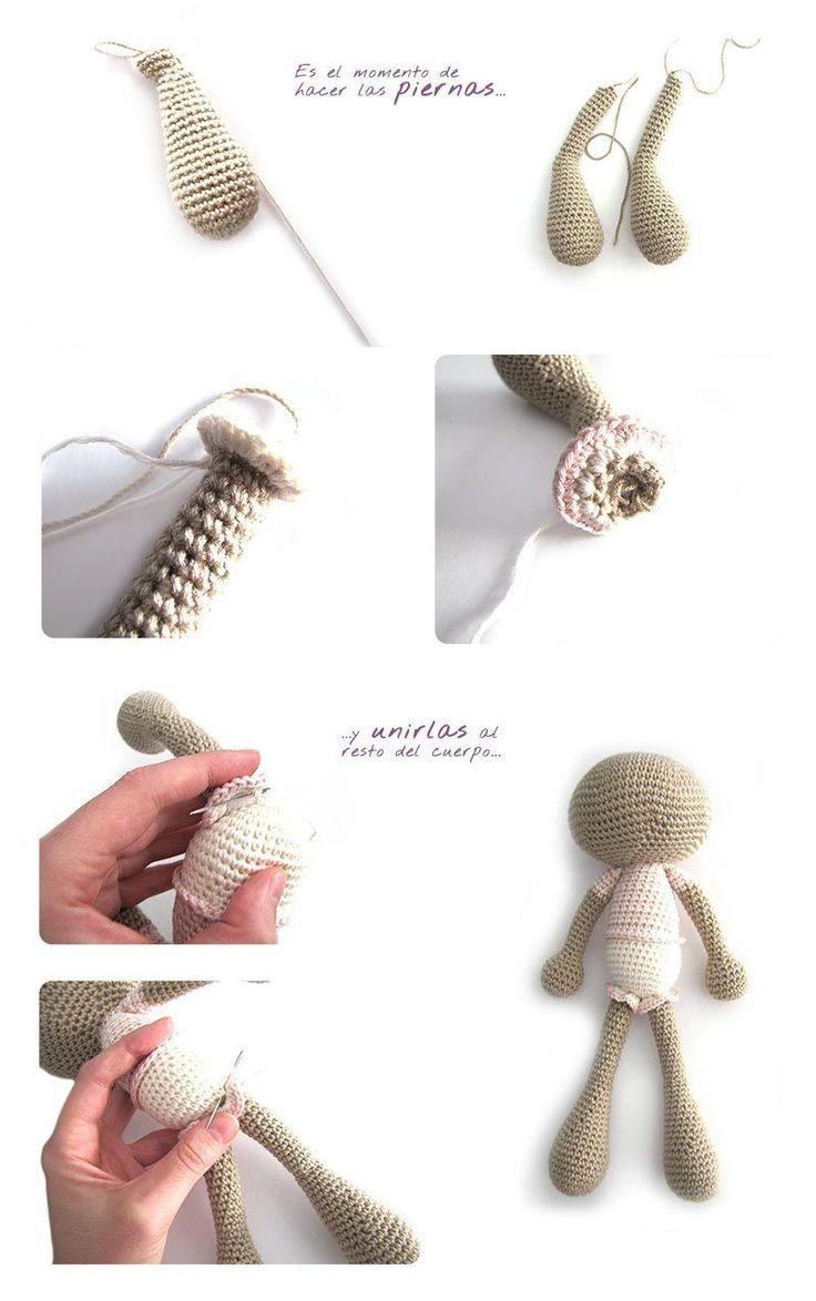 Tutorial paso a paso sobre cómo hacer un peluche de crochet con la técnica de amigurumi o tejido en espiral. Conejita de orejas largas.