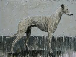 oil painting of greyhound