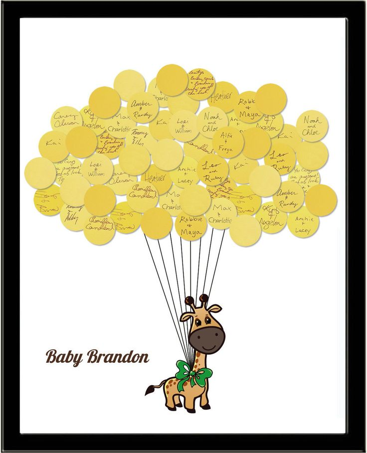 Baby Shower Sign In Guest Book Print Giraffe - Say Anything Design