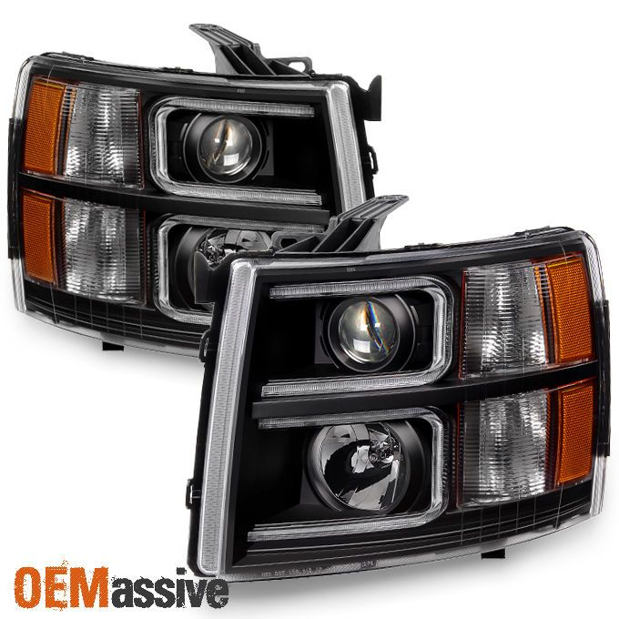 2007-2013 Silverado 1500 07-14 2500HD 3500HD Black LED Tube Projector Headlights | eBay Motors, Parts & Accessories, Car & Truck Parts | eBay!